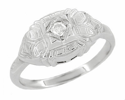 Art Deco East West Engraved Diamond Ring in 14 Karat White Gold