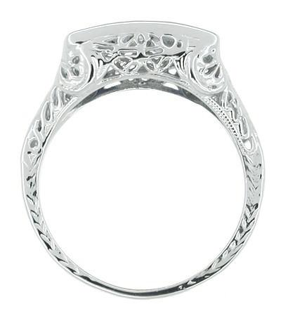 Art Deco Sapphire and Diamond Filigree 4 Stone Ring in 14 Karat White Gold - Item: R305 - Image: 1