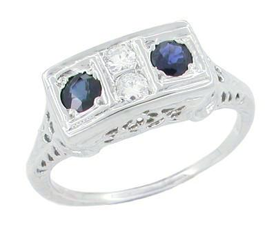 Art Deco Sapphire and Diamond Filigree 4 Stone Ring in 14 Karat White Gold
