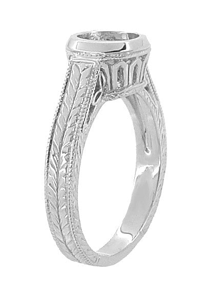 Art Deco 1 to 1.25 Carat Filigree Engraved Wheat Halo Bezel Setting Engagement Ring in 18 Karat White Gold | Low Profile - Item: R306W1 - Image: 2