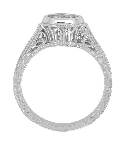 Art Deco 1 to 1.25 Carat Filigree Engraved Wheat Halo Bezel Setting Engagement Ring in 18 Karat White Gold | Low Profile - Item: R306W1 - Image: 1