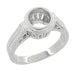 Art Deco 1 to 1.25 Carat Filigree Engraved Wheat Halo Bezel Engagement Ring Setting in 18 Karat White Gold | Low Profile