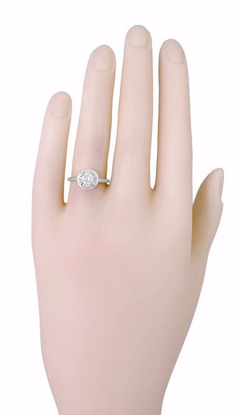 1/2 Carat Diamond Art Deco Solitaire Halo Engagement Ring in 18K White Gold | Vintage 1930's Design - Item: R306W50 - Image: 2