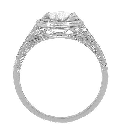1/2 Carat Diamond Art Deco Solitaire Halo Engagement Ring in 18K White Gold | Vintage 1930's Design - Item: R306W50 - Image: 1