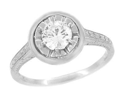 1/2 Carat Diamond Art Deco Solitaire Halo Engagement Ring in 18K White Gold | Vintage 1930's Design