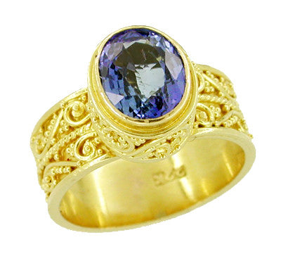 Byzantine Tanzanite Ring in 22 Karat Gold