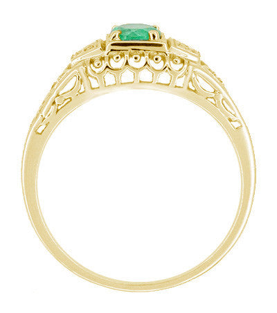 Art Deco Filigree Emerald and Diamonds Engagement Ring in 14 Karat Yellow Gold - Item: R312Y - Image: 1