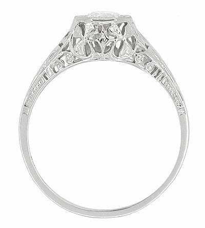 Art Deco Filigree Diamond Antique Engagement Ring in 18 Karat White Gold - Item: R323 - Image: 1