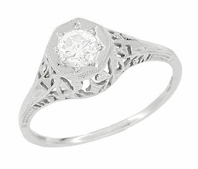 Art Deco Filigree Diamond Antique Engagement Ring in 18 Karat White Gold