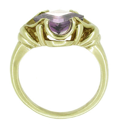 Victorian Square Lilac Amethyst Ring in 14 Karat Yellow Gold - Item: R325 - Image: 1