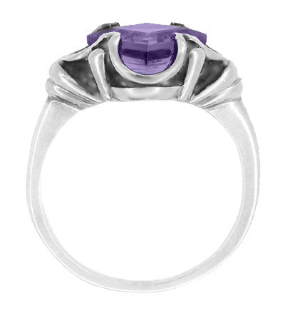 Victorian East to West Square Lilac Amethyst Ring in 14 Karat White Gold - Item: R325W - Image: 1