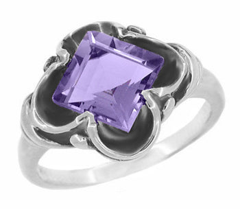 Victorian East to West Square Lavender Amethyst Ring in 14 Karat White Gold