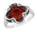 Victorian Square Garnet Ring in 14 Karat White Gold