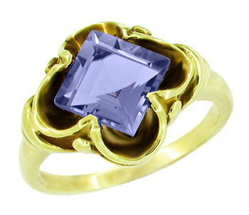 Victorian Step Cut Square Iolite Ring in 14 Karat Yellow Gold