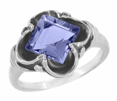 Vintage Style Victorian Square Iolite Ring in 14 Karat White Gold