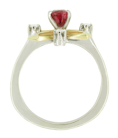 "Retro Moderne Ruby and Diamond Galaxy ""Right Hand"" Vintage Ring in 14 Karat Yellow and White Gold - Item: R328 - Image: 1"