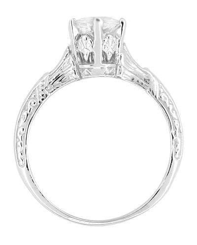 Art Deco 3/4 Carat Crown Platinum Filigree Engagement Ring Mounting - Item: R331P - Image: 1
