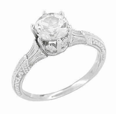 Art Deco 3/4 Carat Crown Platinum Filigree Engagement Ring Mounting