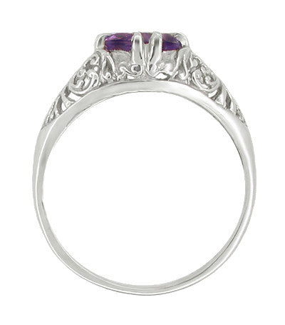 Edwardian Amethyst Filigree Engagement Ring in 14 Karat White Gold - Item: R332 - Image: 1