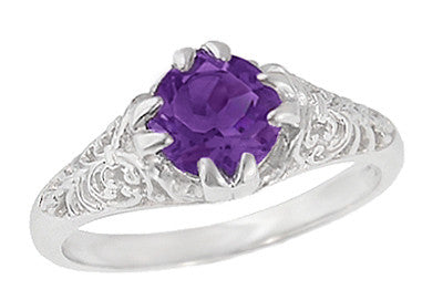 Edwardian Amethyst Filigree Engagement Ring in 14 Karat White Gold