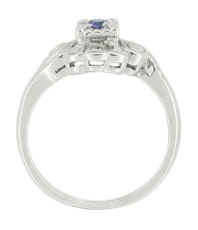 Art Deco Scroll Sapphire Cocktail Ring in 14 Karat White Gold - Item: R333 - Image: 1