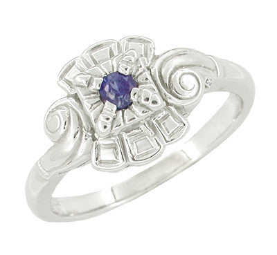 Art Deco Scroll Sapphire Cocktail Ring in 14 Karat White Gold