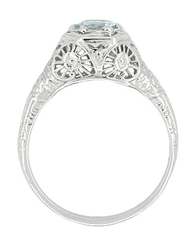 Aquamarine Filigree Ring in 14 Karat White Gold - Item: R334 - Image: 1