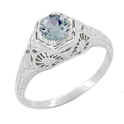 Aquamarine Filigree Ring in 14 Karat White Gold
