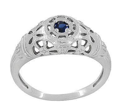 Art Deco Filigree Sapphire Ring in Platinum - Item: R335P - Image: 2