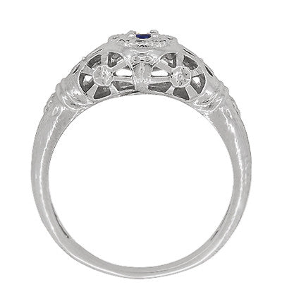 Art Deco Filigree Sapphire Ring in Platinum - Item: R335P - Image: 3