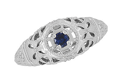 Art Deco Filigree Sapphire Ring in Platinum - Item: R335P - Image: 4