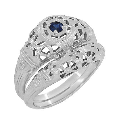 Art Deco Filigree Sapphire Ring in Platinum - Item: R335P - Image: 5