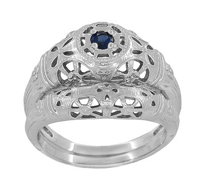 Art Deco Filigree Sapphire Ring in Platinum - Item: R335P - Image: 6
