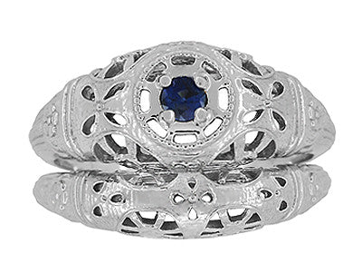 Art Deco Filigree Sapphire Ring in Platinum - Item: R335P - Image: 7