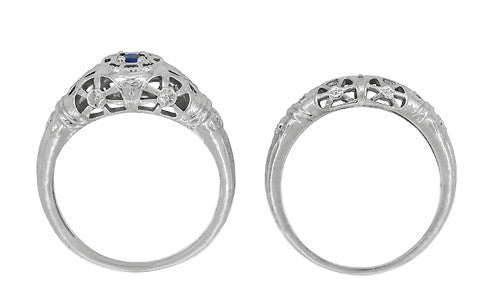 Art Deco Filigree Sapphire Ring in Platinum - Item: R335P - Image: 8