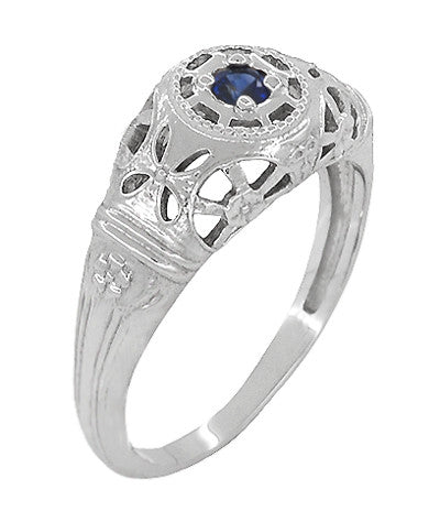 Art Deco Filigree Sapphire Ring in Platinum - Item: R335P - Image: 1