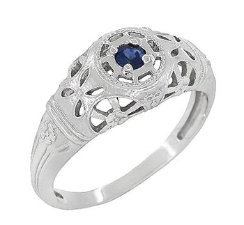 Art Deco Filigree Sapphire Ring in Platinum