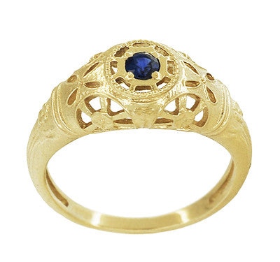 Art Deco Filigree Sapphire Ring in 14 Karat Yellow Gold - Item: R335Y - Image: 2