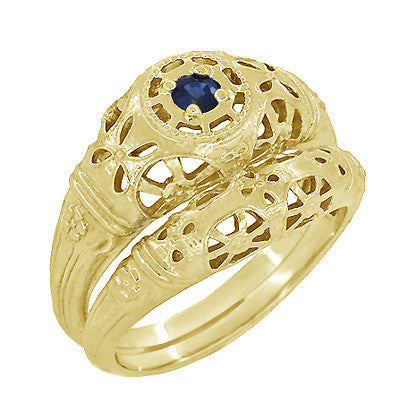Art Deco Filigree Sapphire Ring in 14 Karat Yellow Gold - Item: R335Y - Image: 4