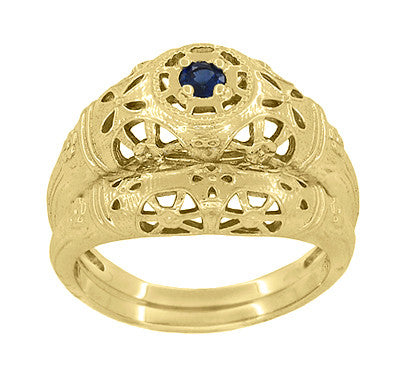 Art Deco Filigree Sapphire Ring in 14 Karat Yellow Gold - Item: R335Y - Image: 5