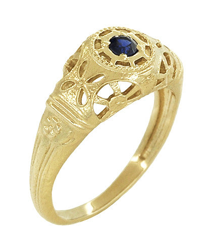 Art Deco Filigree Sapphire Ring in 14 Karat Yellow Gold - Item: R335Y - Image: 1