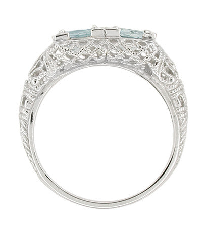 Art Deco Aquamarine Duo Filigree Ring in 14 Karat White Gold - Item: R336 - Image: 1