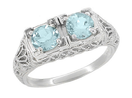 Art Deco Aquamarine Duo Filigree Ring in 14 Karat White Gold