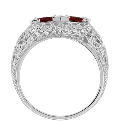 Art Deco Almandite Garnet Duo Filigree Ring in 14 Karat White Gold - Item: R336G - Image: 1
