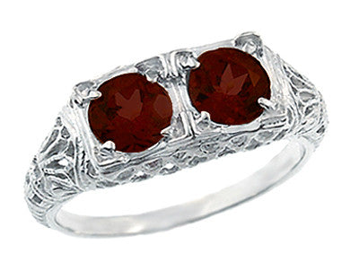 Art Deco Almandite Garnet Duo Filigree Ring in 14 Karat White Gold