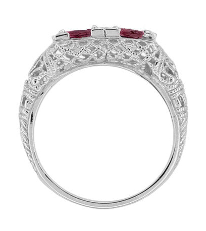 Art Deco Rhodolite Garnet Duo Filigree Ring in 14 Karat White Gold - Item: R336RG - Image: 1