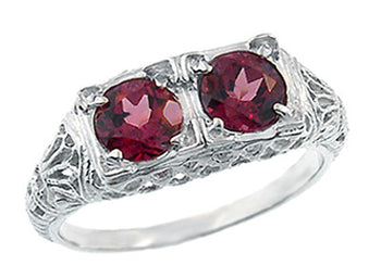 Art Deco Rhodolite Garnet Duo Filigree Ring in 14 Karat White Gold