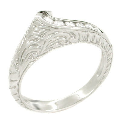 Channel Set Diamond Art Deco Wave Ring in 14 Karat White Gold - Item: R343 - Image: 1