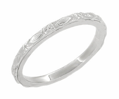 Art Deco Flowers and Diamonds Wedding Band in 14 Karat White Gold