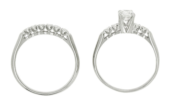 Mid Century Diamond Vintage Wedding Set in 14 Karat White Gold - Item: R350 - Image: 1